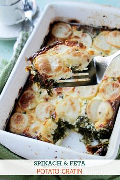 Spinach Feta and Potato Gratin. Spinach Feta and Potato Gratin- Layered casserole with potatoes spinach and feta. Vegetable Dishes, Vegetable Recipes, Vegetarian Recipes, Cooking Recipes, Healthy Recipes, Vegetarian Bake, Spinach And Potato Recipes, Cooking Time, Side Dish Recipes