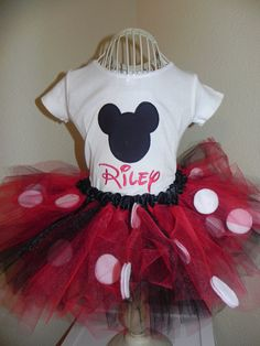Red and black Mickey Mouse tutu ouitfit LONG or SHORT SLEEVES. Great for 1st 2nd 3rd Birthday. $49.00, via Etsy.