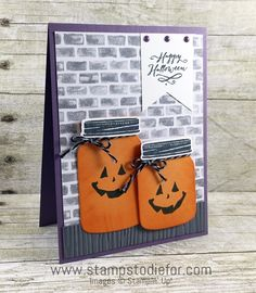 Sunday Sketches – Jar of Haunts Stamp Set Stampin Up Jar of Haunts Stamp Set, Holiday Catalog, Halloween Card 2 www. Diy Halloween, Halloween Paper Crafts, Manualidades Halloween, Halloween Cards, Happy Halloween, Halloween Plates, Halloween Night, Diy Hacks, Fall Cards