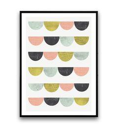 Scandinavian print, Geometric art, Minimalist print, Pastel colors, Watercolor print, Nursery art, Abstract print, pink turquoise,  Colorful