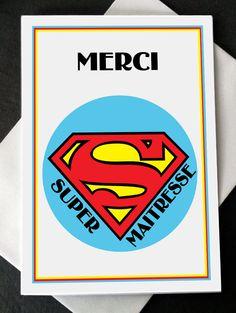 "Carte Merci ""Super Maîtresse"" : Cartes par creerpourvous"