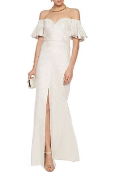 Shop on-sale Badgley Mischka Off-the-shoulder metallic jacquard gown . Browse other discount designer Dresses & more on The Most Fashionable Fashion Outlet, THE OUTNET.COM