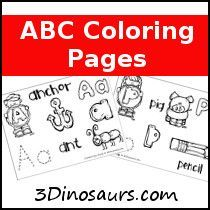 Free Fun ABC Coloring pages! 3Dinosaurs.com