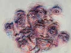 By Lapin Sauvage 2013 =;) Experimenting with rollerball pen three colours Biro Art, Biro Drawing, Pen Drawings, Drawing Skills, Drawing Techniques, Biro Portrait, Scribble Art, Sketchbook Inspiration, Types Of Art
