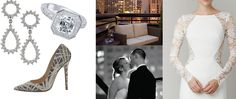 A ROMANTIC WEDDING  CLOCKWISE FROM TOP LEFT: 18k white-gold 2.02 carat asher center-cut diamond ring with a diamond halo, Razny Bridal Collection (price on request). Centennial Plaza, 1501 W. Lake St., Addison, 630-932-4900; 0.47 carat diamond drop earrings, A. Link & Co. ($1,970). C.D. Peacock, 172 Oakbrook Center, Oak Brook, 630-571-5355; balcony at the Thompson Hotel; Lace and silk gown, Lela Rose ($4,995). Belle Vie Bridal Couture, 34 E. Oak St., Second Fl., 312-751-2222; Rox suede pump…