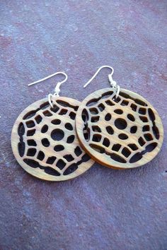 Wooden earrings Vera wood by HickoryHollowRustics on Etsy, $16.00
