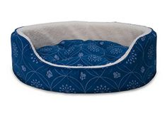 Furhaven Pet Print Flannel Oval Pet Bed, Twilight Blue, Medium ** To view further for this item, visit the image link.