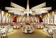 A Beauty Salon in St. Petersburg With Industrial Lighting Design Indian Wedding Stage, Indian Wedding Receptions, Wedding Mandap, Wedding Stage Decorations, Wedding Reception Centerpieces, Peach Wedding Invitations, Luxury Chandelier, Ceiling Decor, Backdrops For Parties