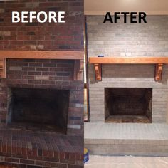 DIY: Grey Wash Fireplace I'm going to start off this post by saying that I was a little nervous about this project at first, but that overall I'm happy with how the process went & how the fireplace turned o… Update Brick Fireplace, White Wash Brick Fireplace, Painted Brick Fireplaces, Home Fireplace, Modern Fireplace, Fireplace Design, Brick Fireplace Remodel, How To Paint Fireplace, Paint Brick