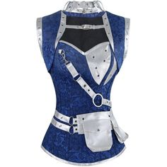 Charmian Women's Steampunk Spiral Steel Boned Vintage Retro Corset... ($35) ❤ liked on Polyvore featuring tops, bustier corset, steampunk corset tops, blue corset, bone corset and steampunk corset