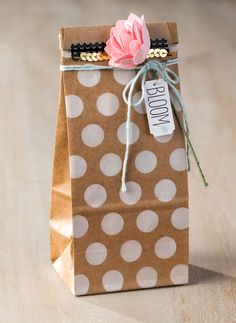 It's so fun to use the petite cafe bags for gift wrap. A perfect finishing touch is the bloom sentiment from the For Peep's Sake stamp set.