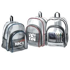 Clear PVC Transparent Backpack with custom imprint.