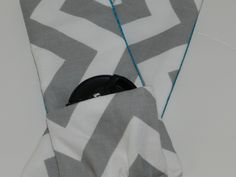 Camera Strap, Gray and White Chevron Stripe, with Teal Blue - soft neck strap and Camera Accessory for your DSLR  by Darby Mack. $18.95, via Etsy.