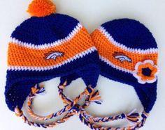 Denver Broncos Crochet Hat in Royal Blue