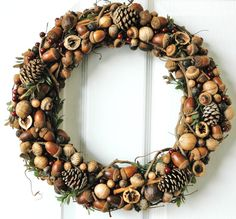 Handmade hickory holiday nut & seed wreath.....awesome!