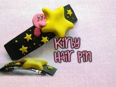 A kirby hair pin that is just absolutely adorable! Cute Polymer Clay, Fimo Clay, Polymer Clay Charms, Polymer Project, Polymer Clay Projects, Clay Crafts, Kirby Nintendo, Clay Videos, Clay Tutorials