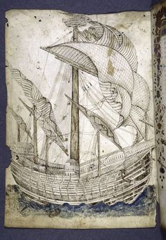 Image Title:  Full page drawing of tall ship. Additional Name(s): Dati, Gregorio, 1362-1436 -- Author Specific Material Type: mss. text Item/Page/Plate: f. 1v Source: Renaissance and medieval manuscripts collection, ca. 850-ca. 1600. / La Sfera
