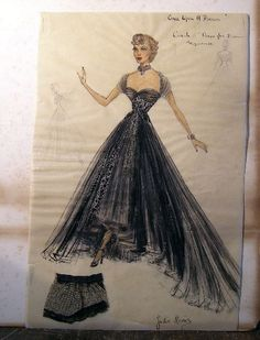 """Cecil Beaton """"Once Upon a Dream"""" costume sketch of Carol dress in Dream Sequence for Julie Harris"""