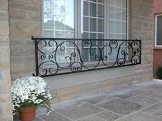 Adding and exterior railing to your house will not only increase the houses overall value, but it will give it a strong secure feel. Outside Stair Railing, Front Porch Railings, Iron Railings, Balcony Grill, Iron Balcony, Exterior Stairs, Interior Exterior, French Balcony, Balcony Railing Design