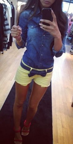 <3 - denim shirt, yellow shorts (Discover Sojasun Italian Facebook, Pinterest and Instagram Pages!)