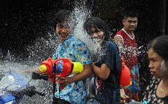 People take part in #water #battles as they celebrate the Songkran festival in #Narathiwat, #southern #Thailand