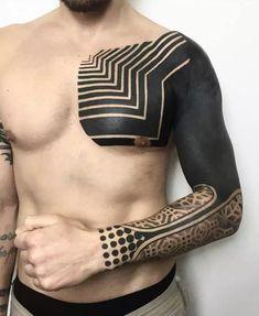 70 All Black Tattoos For Men - Blackout Design Ideas .- 70 all black tattoos for men – blackout design ideas -