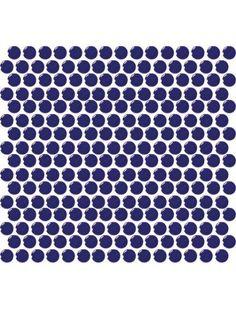 "Daltile Retro Round Cobalt Circle Gloss 1"" x 1"" Porcelain Mosaic Tile"