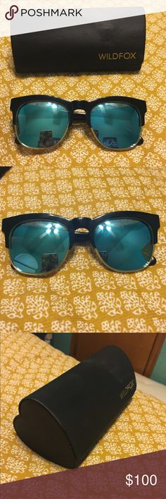 Wildfox Clubfox Sunglasses Worn once wildfox Clubfox black and gold sunglasses. With blue mirrored lenses. In perfect condition!   Eye width: 54mm  Bridge Width: 20mm  Temple length: 145mm Wildfox Accessories Sunglasses