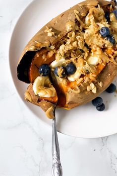 sweet breakfast stuffed sweet potato with maple tahini | love me, feed me | Bloglovin'