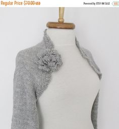SPRING SALE Grey Wedding shrug Bridal shrug long by knittingshop