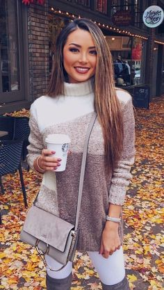 #winter #outfits brown and white sweater