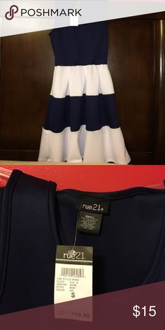 NWT Rue 21 Sailor Dress Super soft and comfy! Perfect for a beach trip or cruise! Navy blue and white. Never worn. Rue 21 Dresses