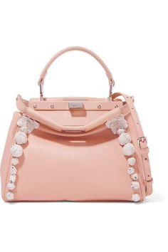 Fendi - Peekaboo Floral-appliquéd Leather Shoulder Bag - Pink - one size 7b73eb579d99a