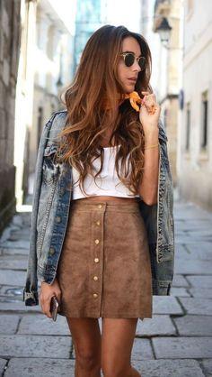 Dear Stitch fix stylist- I like these suede skirts (I have a denim one like this)