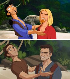 Tulio and Miguel from Dreamwork's Road to El Dorado, redrawn as Samuel and Nathan Drake from Uncharted - THIS IS SO PERFECT! XD
