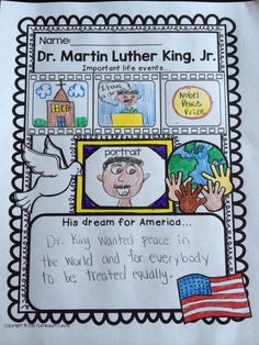 All about MLK (Martin Luther King, Jr.) poster activity {FREE}!
