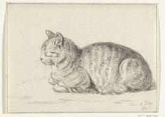 Liggende kat, naar links, Jean Bernard, 1811