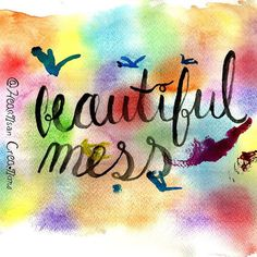 """Day 20 - Beautiful Mess!  """"It kind of hurts when the kind of words you write kind of turn themselves into knives"""" Had this son stuck in my head all day working on this piece❣☺️ ~~~~~~~~~~~~~~~~~~~~~~~~~~~ #DNDchallenge #HeartisanCreations #watercolor #watercolour #rainbow #rainbowcolors #beautifulmess #jasonmraz #abeautifulmess #lettering #handlettering #handmade #handdrawn #handtype #typography #brushlettering #brushscript"""