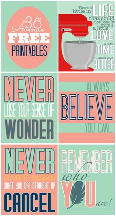 Free Printables and Inspirational Quotes at the36thavenue.com These are super cute and fun!