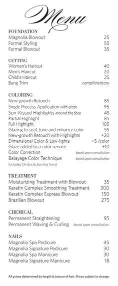 Salon Menu Classic Floral Hair Salon / Stylist by verymaryk