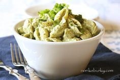 Creamed Avocado and Lime Chilled Pasta    D & V with following  This is FABULOUS with the whole wheat pasta and instead of mayonnaise use thick coconut milk or none and add extra avocado!