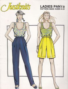 1980's Sewing Pattern - JustKnits Ladies Pants, Shorts  Size 8-22  Factory folded and complete by jennylouvintage on Etsy