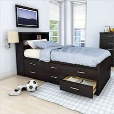 Sonax Willow Twin Captains Storage Bed with 6 Drawers - Ravenwood Black - Bedroom Sets at Hayneedle Murphy Bed Couch, Murphy Bed Plans, Twin Bedroom Sets, Twin Xl Bedding, Bedding Sets, Bedroom Corner, Bed Frame With Drawers, Bed Frame With Storage, Camas Twin