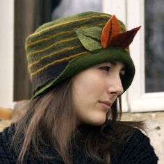 felt hat handmade in france  leaves by jannio on Etsy, $85.00