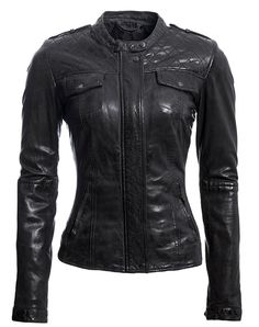 Edgy and super chic, this cool lamb leather moto-inspired jacket scores maximum style points. With precision quilted detailing on the yoke and elbows and snapped pockets, cuffs, collar and epaulets, it features pocket flaps and a fully lined interior with stretch satin-lined sleeves for added comfort. Figure-flattering, this gorgeous must-have is destined for non-stop wear.