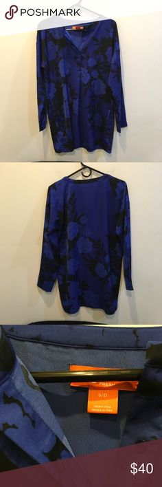 Joe Fresh Silk Floral Pocketed Tunic Blouse Joe Fresh dark blue and black Floral Printed top with a silk body and side slit pockets - flat collar and hidden buttons along center front top- not lined and worn only a few times! Size small. Joe Fresh Tops Blouses