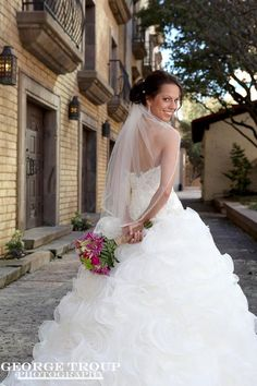 Love this shot at the Las Colinas Canal / photographers / Dallas bridal portraits by George Troup Photography / outside / veils / Dallas wedding photographer