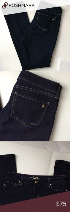 Kate Spade Skinny Jeans! Kate Spade dark wash skinny jeans! Perry street is the style! I love the Gold embroidered Spade on the back pocket! Excellent condition! Gold tone embellishments with spades on them. Cotton, polyester, elastane. Inseam 29 inches! Size 29. kate spade Jeans Skinny