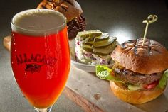 Portal's beef and quinoa-tempeh mini-burgers with an Allagash Curieux beer. Photo: John Storey / SF