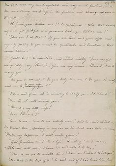 This is Charlotte Bronte's handwritten manuscript of Jane Eyre, open at Rochester's proposal — perhaps the most celebrated in fiction. The manuscript was sent by Charlotte to her printer in August 1847 after she had written the novel at great speed, spurred on by the publication successes enjoyed that year by her sisters, Emily and Anne, and undaunted by the rejection of her first novel, The Professor.